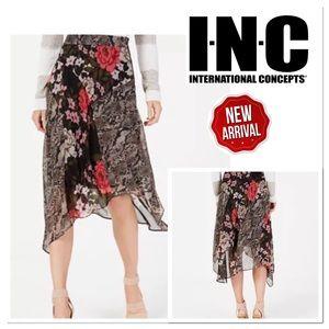 I.N.C. Mixed-Print Floral Midi Skirt Size Petite 6